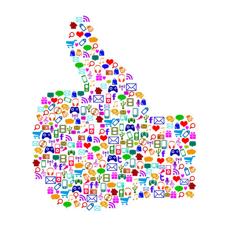 Thumbs Up Icons Showing Follow Apps And Internet Symbols Stock Photo