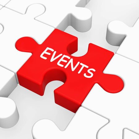 happenings: Events Puzzle Meaning Occasion Event Or Function Stock Photo