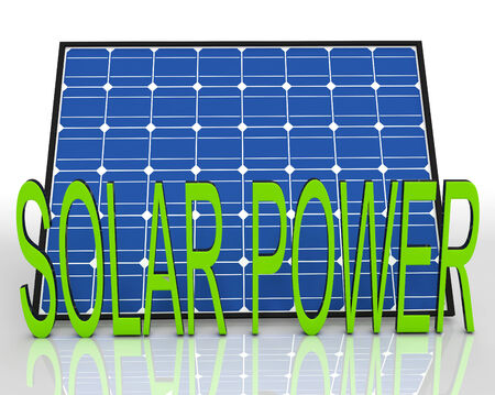 solarpanel: Solar Panel And Power Word Showing Energies Source Stock Photo