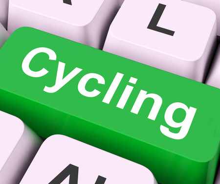 motorcycling: Cycling Key On Keyboard Meaning Bicycling Or Motorcycling  Stock Photo