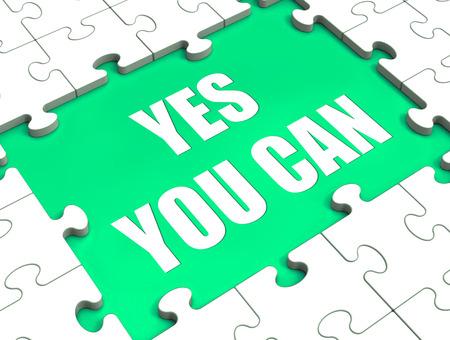 you can: S�. Usted puede Puzzle Mostrando Motivaci�n Inspiraci�n y Logros