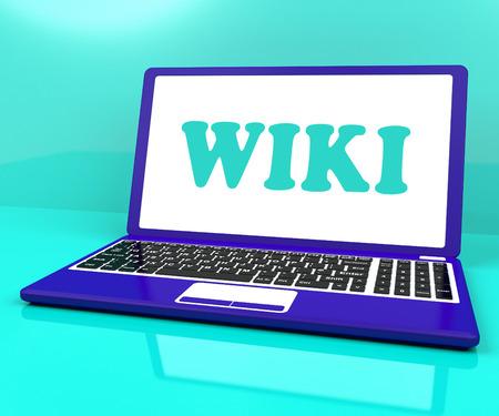 wiki: Wiki Laptop Showing Online Websites Knowledge Or Encyclopedia