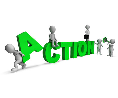 proactive: Action Characters Showing Motivated Proactive Or Activity Stock Photo