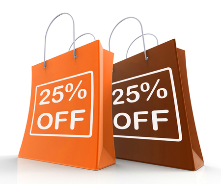 per cent: Twenty-Five Percent Off On Shopping Bags Shows 25 Bargains