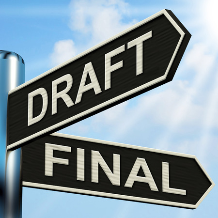 Draft Final Signpost Meaning Writing Rewriting And Editing Stock Photo