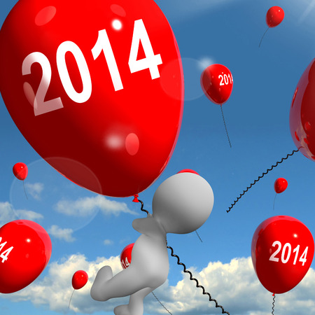 two thousand and fourteen: Two Thousand Fourteen on Balloons Showing Year 2014 Stock Photo
