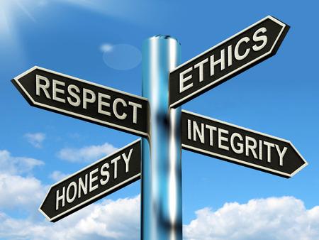 respeto: �tica Respeto Honestidad Integridad del poste indicador Significado buenas cualidades Foto de archivo