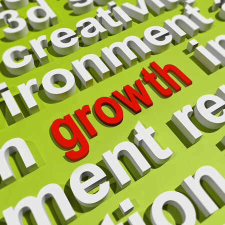 bigger: Growth In Word Cloud Meaning Get Better Bigger And Developed Stock Photo