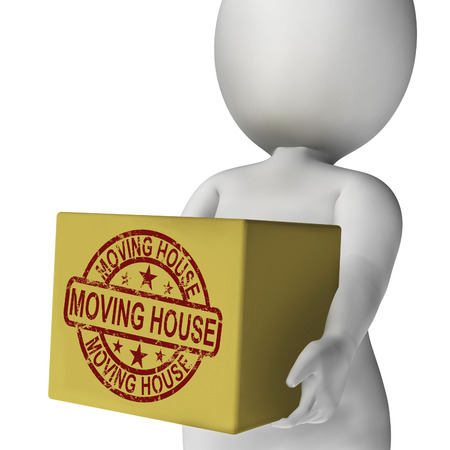 removal van: Moving House Boxes Meaning Buying New Home And Relocating