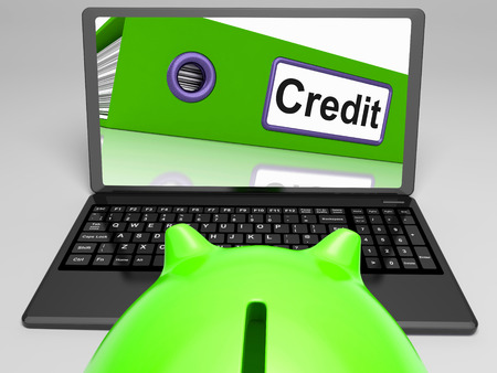 Credit Laptop Meaning Online Lending And Repayments Stock Photo - 26064790