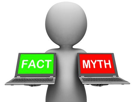 fact: Fact Myth Laptops Showing Facts Or Mythology Stock Photo