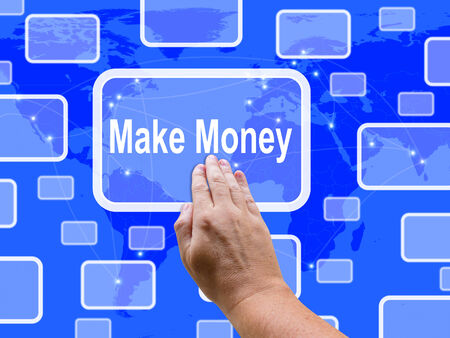 make an investment: Make Money Touch Screen Showing Investment And Wealth Growth