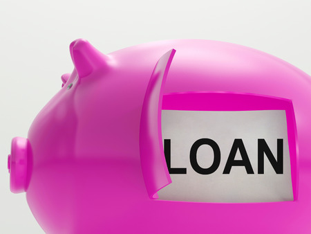 borrowed: Loan Piggy Bank Meaning Money Borrowed Or Creditor Stock Photo