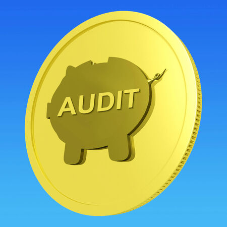 auditors: Audit Coin Showing Auditing And Inspection Of Finances Stock Photo