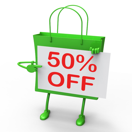 per cent: Fifty Percent Reduced On Shopping Bags Show 50 Bargains Stock Photo