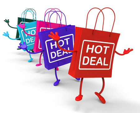 discounted: Hot Deal Bags Showing Sales, Bargains, and Deals Stock Photo