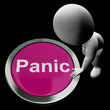 panicky: Panic Button Showing Alarm Distress And Crisis Stock Photo