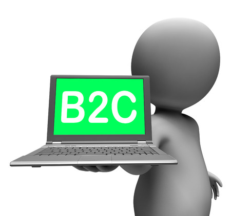 retail business: B2c Laptop Character Showing Retail Business To Customer Or Consumer Stock Photo
