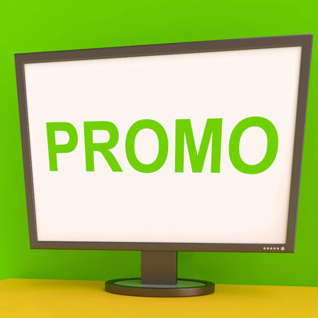 Promo Screen Showing Promotional Discounts And Rebate Stock Photo