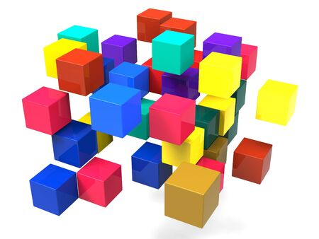 disorganization: Exploding Blocks Shows Scattered Puzzle And Explosion