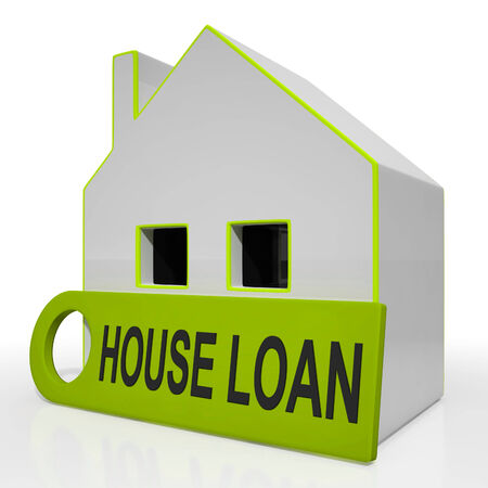 borrowing: House Loan Home Showing Credit Borrowing And Mortgage Stock Photo