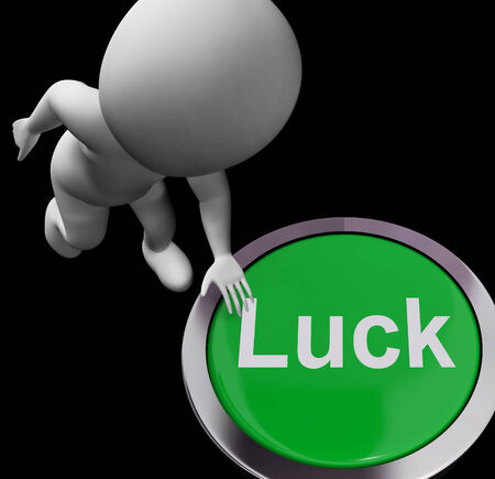 fortunate: Luck Button Showing Chance Gamble Or Fortunate