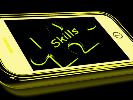 competency: Skills Smartphone Meaning Knowledge Abilities And Competency Stock Photo