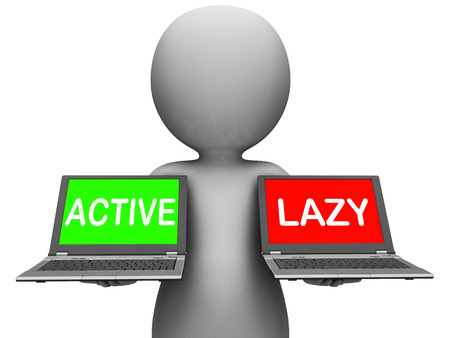 inaction: Active Lazy Laptops Showing Action Or Inaction