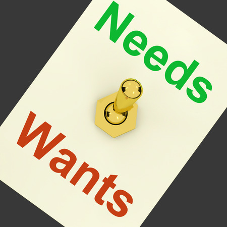 wants: Needs Wants Lever Showing Requirements And Luxuries
