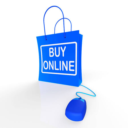 buy online: Buy Online Bag Representing Internet Shopping and Buying