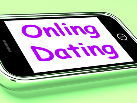 Online Dating On Phone Shows Romancing And Web Love photo