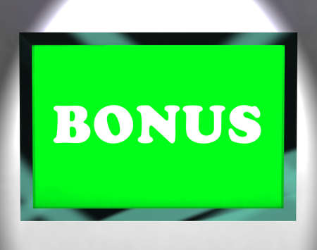 perk: Bonus On Screen Showing Reward Or Perk Online Stock Photo