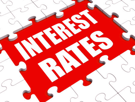 borrowing: Interest Rate Puzzle Showing Investment Or Borrowing Percent Stock Photo