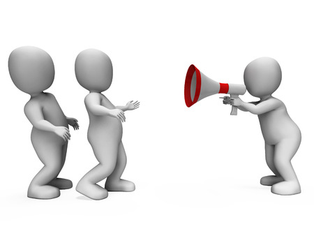loud hailer: Megaphone Character Showing Motivation Leadership And Do It