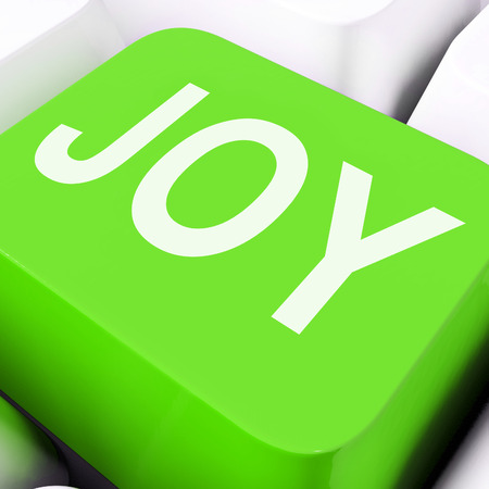 joyousness: Joy Keys Showing Fun Enjoyment Or Happiness