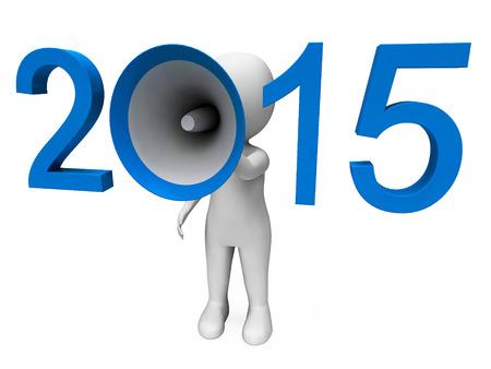 loud hailer: Two Thousand Fifteen Loud Hailer Showing Year 2015 Stock Photo