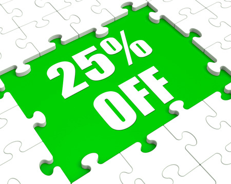 Twenty Five Percent Off Puzzle Meaning Cut Reduction Or Sale 25% photo