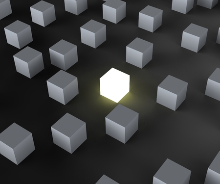 distinctness: Unique Illuminated Block Showing Standing Out And Different