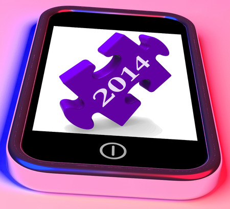 forecasts: 2014 On Smartphone Showing Forecasts For New Year Stock Photo