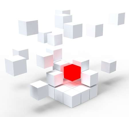 distinctness: Unique Red Block Shows Standing Out And Different