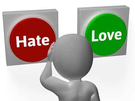 appraise: Hate Love Buttons Showing Attitude Or Hatred