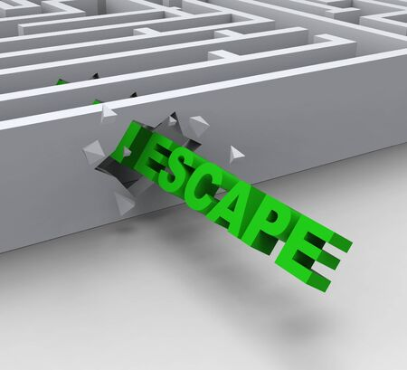 jailbreak: Escape From Maze Shows Liberated Or Escape Stock Photo