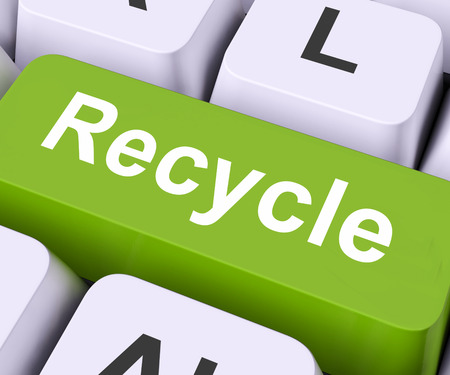 reprocess: Recycle Key On Keyboard Meaning Reprocess Reuse Or Salvage