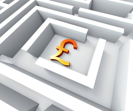 gbp: Gbp Currency In Maze Shows Finding Pounds Credit