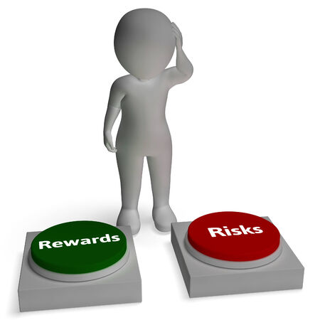risking: Risk Reward Buttons Shows Risking rewards Payoff Stock Photo