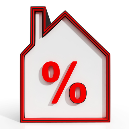 House And Percent Sign Displaying Real Estate Investment Or Discount photo