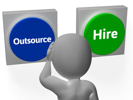 offshoring: Outsource Hire Buttons Showing Subcontracting Or Freelancing Stock Photo