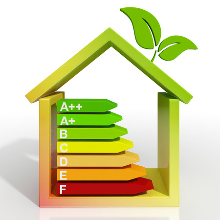 Energy Efficiency Rating Icon Shows Green Housing photo