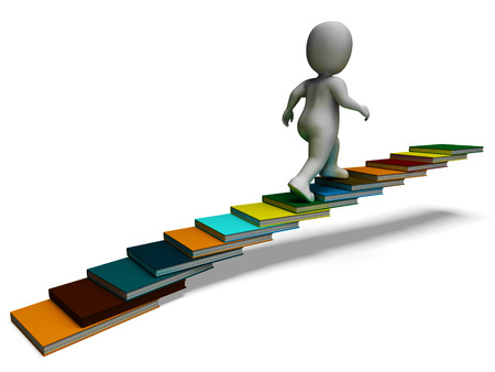 Student Climbing Books Showing Education And Studying Stock Photo