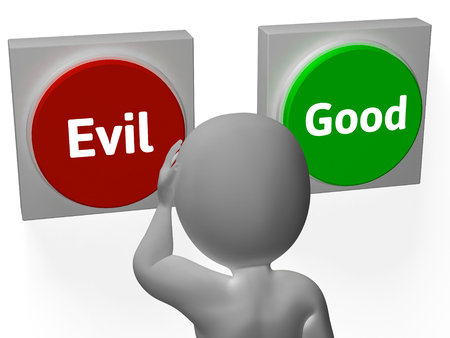 morals: Evil Good Buttons Showing Morals Or Mischief